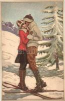 Italian art deco postcard, skiing couple, 276-1 s: Mauzan