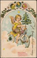 2 db RÉGI biciklis képeslap; All Heil! biciklis Art Nouveau litho képeslap, karácsonyi üdvözlőlap biciklin ülő angyallal / 2 pre-1945 bicycle-themed postcards; All Heil! floral, Art Nouveau postcard, Christmas greeting card, angel sitting on a bicycle, litho