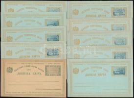 Montenegró 10 db díjjegyes használatlan levelezőlap, közte válaszos