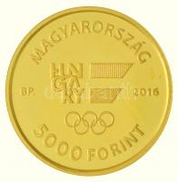 2016. 5000Ft Au XXXI. Nyári Olimpiai Játékok tanúsítvánnyal (0,5g/0.999/11mm) T:P Hungary 2016. 5000 Forints Au XXXI Summer Olympic Games with certificate (0,5g/0.999/11mm) T:P