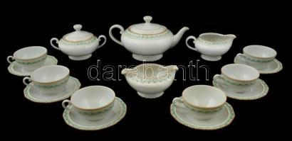 Schlagenwald teás készlet, matricás, jelzett, kopott aranyozással, plusz egy kiöntővel, összesen: 9 db