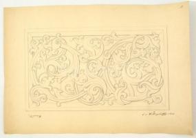 Wiettinghoff Evald (1826-1882): Épület dísz vázlat 1865. Ceruza, papír, jelzett, felcsavarva, apró szakadással, 23×39 cm