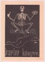 Bartos László (1902-1943): Erotikus ex libris. Klisé, papír, jelzett a klisén, 8,5×5,5 cm