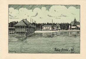 Palic, lake, s: Lamoss, Palicsfürdő, tó 'Délvidéki Egyetemi és Főiskolai Hallgatók Egyesülete' s: Lamoss