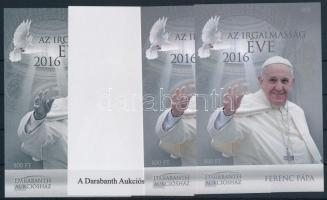 2016 Ferenc pápa: 2016 az Irgalmasság éve 4 db-os emlékív garnitúra azonos sorszámmal (005)