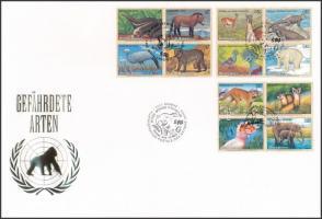 UN Vienna, Geneva, New York Endangered animals (5) 3 diff blocks of four on FDC, ENSZ Bécs, Genf, New York Veszélyeztetett állatok (V) 3 klf négyestömb FDC-n