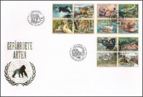 UN Vienna, Geneva, New York Endangered animals (8) 3 diff blocks of four on FDC, ENSZ Bécs, Genf, New York Veszélyeztetett állatok (VIII) 3 klf négyestömb FDC-n