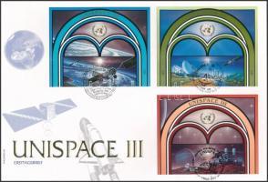 Bécs, Genf, New York 1999 ENSZ Konferencia (UNISPACE III) 3 klf ívszéli pár Mi 291-292, 373374, 819-820 FDC-n