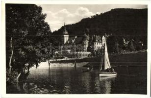 Lillafüred, Hámori tó, Palotaszálló, csónak, Márton Jenő felvétele (ferdén vágott / slant cut)