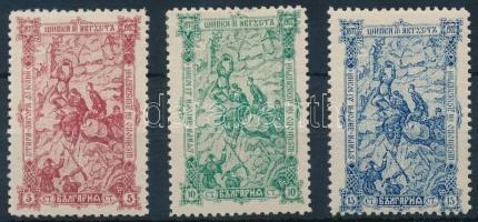 1902 A sípkai csata évfordulója sor Mi 62-64 (betapadás / gum disturbance)