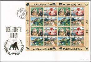 Veszélyeztetett állatok (VI) teljes ív FDC-n Endangered animals (VI) complete sheet on FDC