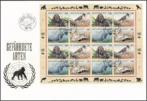 Veszélyeztetett állatok (I) teljes ív FDC-n Endangered animals (I) complete sheet on FDC