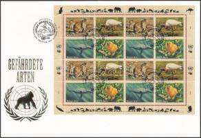 Veszélyeztetett állatok (II) teljes ív FDC-n Endangered animals (II) complete sheet on FDC