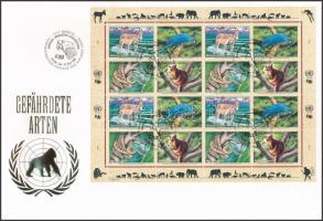 Veszélyeztetett állatok (VII) teljes ív FDC-n Endangered animals (VII) complete sheet on FDC