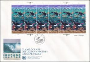 A tiszta tengerekért teljes ív FDC-n For clean seas complete sheet on FDC