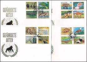 1993-1997 Endangered animals  I-III, V 4 diff set on FDC, 1993-1997 Veszélyeztetett állatok I-III, V 4 klf sor FDC-n