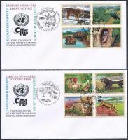 2001-2002 Endangered animals (IX-X) 2 diff set on 2 FDC, 2001-2002 Veszélyeztetett állatok (IX-X) 2 klf sor 2 db FDC-n