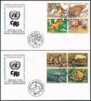 1994-1995 Endangered species (I-III) 2 diff sets on 2 FDC, 1994-1995 Veszélyeztetett fajok (II-III) 2 klf sor 2 db FDC-n