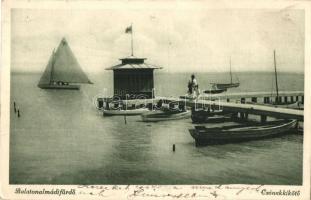 Balatonalmádi-fürdő, Csónakkikötő, vitorlások, Divald kiadása (fa)