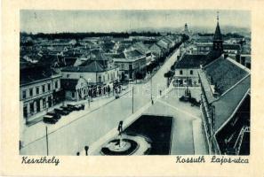 Keszthely, Kossuth Lajos utca, gyógyszertár, szobor, templom