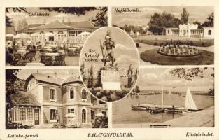 Balatonföldvár, Katinka panzió, cukrászda, hajóállomás, Szent Kristóf szobra
