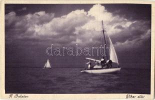 Balaton, vihar előtt, vitorlások
