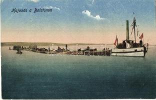Balaton, halászok, gőzhajó (kis szakadás / small tear)