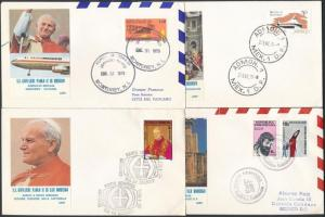 1979 II. János Pál pápa Közép-Amerikai útja 8 klf alkalmi boríték és FDC
