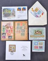 Hagyaték: háború előtti és modern magyar bélyegek, emléklapok, kevés külföldi, bélyegcsomag, stb. nagy alakú berakóban, zsebberakóban, borítékokban