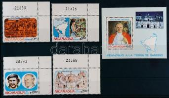 1983 II. János Pál pápa ívsarki sor Mi 2371-2374 + blokk Mi 148