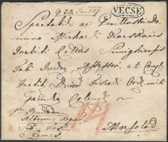 ~1822 Portós levél / Unpaid cover VECSE