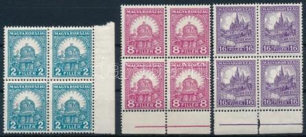 1928 Pengő-fillér (II.) B sor ívszéli négyestömbökben (20.000) (apró ráncok / small creases)