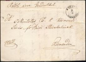 ~1847 Hivatalos portós levél / Official unpaid cover (R)ÁTOT(H)