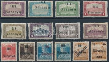 Baranya I. 1919 14 klf érték Bodor vizsgálójellel (6.075)