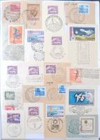 1954-1980 226 db kivágás különböző alkalmi bélyegzésekkel 14 db A4-es papírlapon, műanyag dossziéban, tematikus kincsesbánya