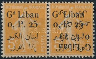 Mi 27 pár az egyik bélyegen kettős felülnyomás, az egyik fordított Mi 27 pair, on one stamp double overprint, one inverted