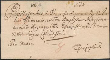 1770 Portós levél / Unpaid cover Buda.
