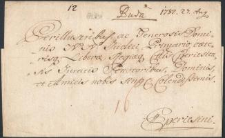 1782 Portós levél / unpaid cover Buda.