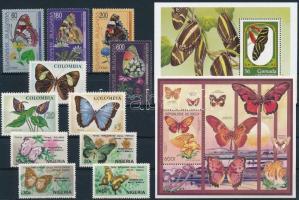 Butterfly 11 stamps and 2 blocks, Lepke motívum 11 klf bélyeg és 2 blokk