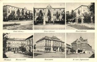 Miskolc, Tüzér laktanya, Korona szálló, Zene-palota, katolikus főgimnázium, Márton Jenő felvétele