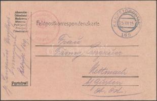 1915 Tábori posta levelezőlap K.u.k. Brückenkopf kommando PRZEMYSL + FP 169