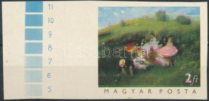 1966 Festmény 2Ft próbanyomat ívszéli, eltolódott színnyomatok