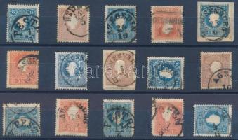 1858 15 db bélyeg szép / olvasható bélyegzésekkel