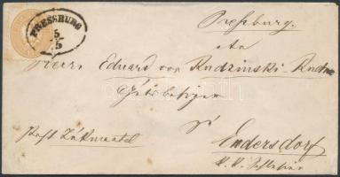 """Levél / Postázott, Az 1864-es kiadás; ~1865 15kr levélen / on cover """"PRESSBURG"""" - Endersdorf"""