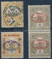 Debrecen I. 1919 Turul 2f, 6f pár és Hadisegély II. 2f garancia nélkül (**90.000)