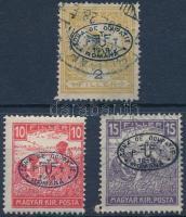 Debrecen I. 1919 Turul 2f és Fehérszámú Arató 10f, 15f garancia nélkül (**70.000)