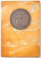 1934. Magyarországi Királyi Közjegyzők Országos Egylete 1884-1934 Br emlékérem márványtalpon (érem:49mm márványtalp:91x133mm) T:2