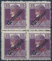 Debrecen I. 1919 Károly/Köztársaság 15f piros felülnyomással négyestömbben garancia nélkül (**220.000)