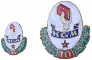 ~1960. K.G.M. Tanintézetek Törzsgárda Jelvénye - 10. zománcozott jelvény és miniatűr T:2 zománchiba
