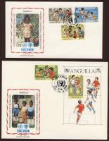 1981 UNICEF, nemzetközi gyermekév, játszó, sportoló, zenélő gyerekek, kutya sor+blokk FDC